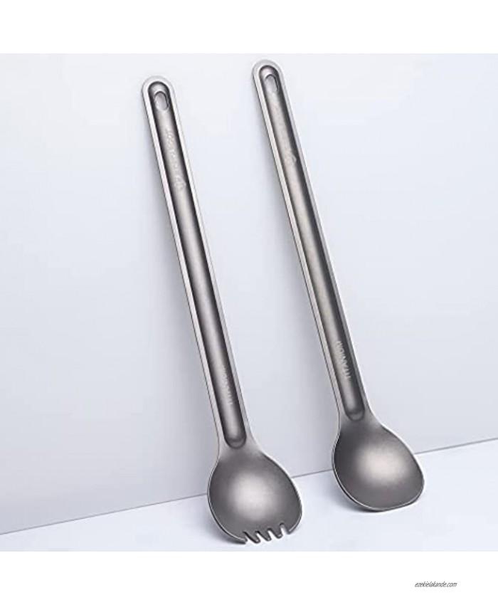 Bestargot Titanium Spoons Long Handle Spoons Spork Camping Cutlery Ultralight Titanium Camping Cutlery Set Outdoor Travel Cutlery 2-Piece Portable Spoons Camping Utensil Set