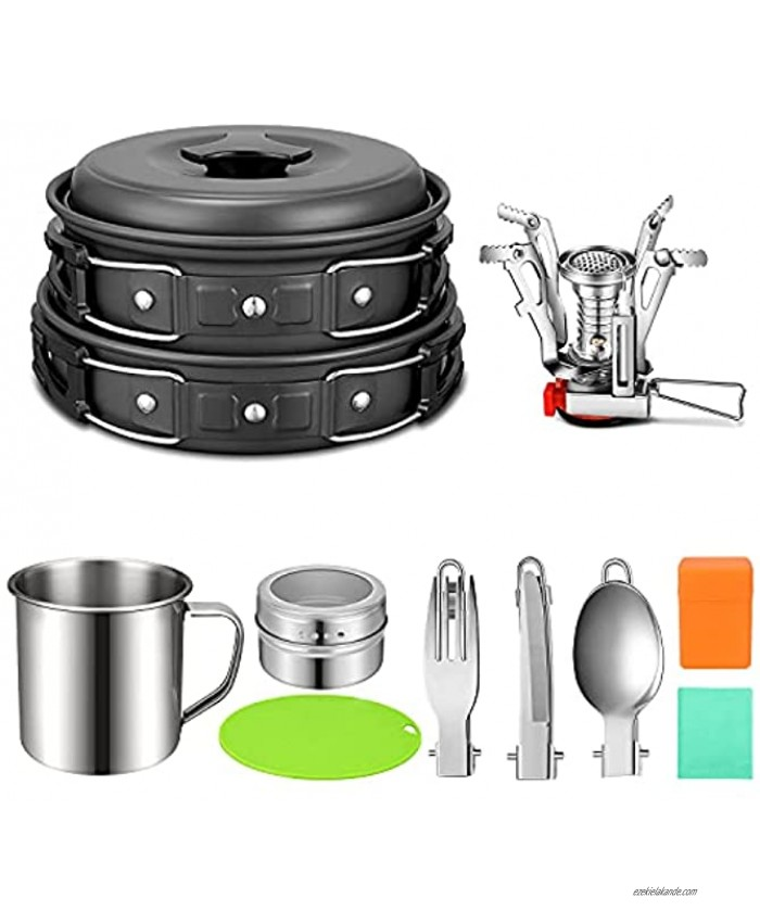 G4Free 12PCS Camping Cookware Mess Kit Lightweight Cooking Pot Pan Kettle Fork Knife Spoon Kit for Backpacking Outdoor Camping Hiking and Picnic