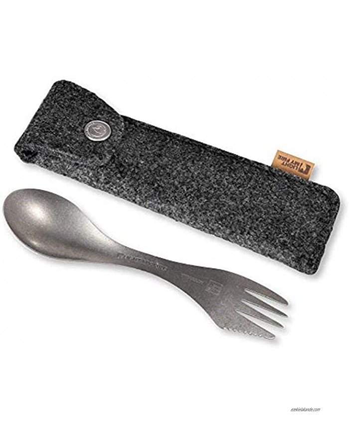 Light My Fire Camping Spork Titanium Spork With Case 6.7 and 0.67 oz Metal Spork with Utensil Holder made of Merino Wool Camping Cutlery with Utensil Case Reusable Spork with Case