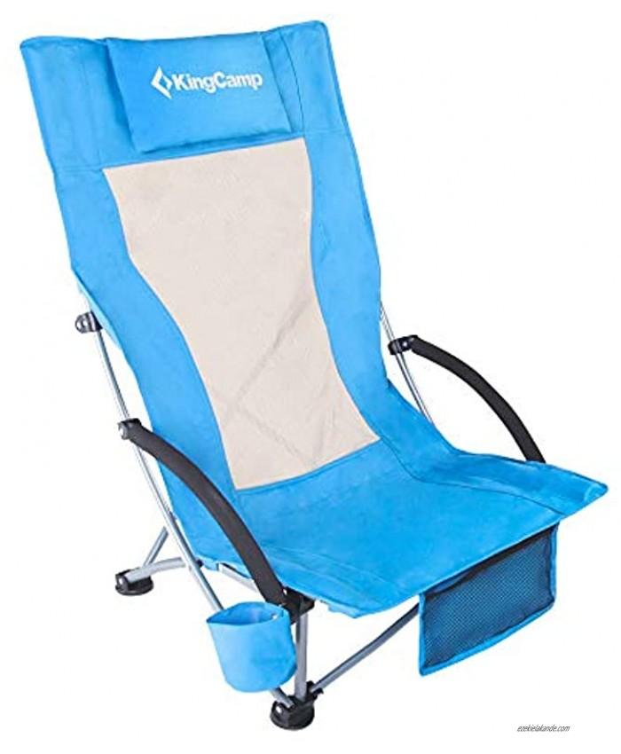 KingCamp Beach Chair High Back Lightweight Folding Backpack Chair with Cup Holder Pocket Pillow Bag for Outdoor Camping Sand Concert Lawn Festival Sports Blue