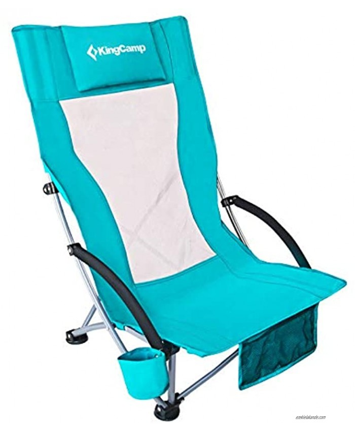 KingCamp Beach Chair with Padded Armrest Portable Camping Chair with Cup Holder Mesh Backpacking Chair for Outdoor Camping BBQ Beach Travel Picnic Easy Carry