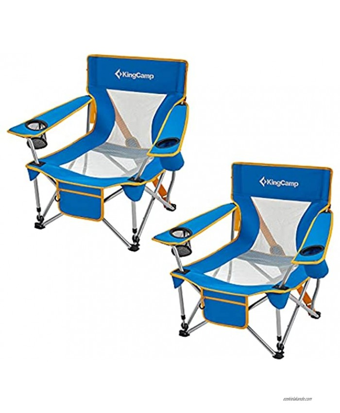 KingCamp Folding Camping Chair Low Seat Portable Light Weight Chair with Cup Holder & Front Pocket for Outdoor Garden Fishing Beach Travel Picnic Hiking 2 Pack
