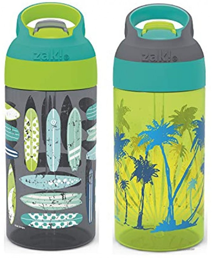 Zak Designs 16oz Riverside Beach Life Kids Water Bottle with Straw and Built in Carrying Loop Made of Durable Plastic Leak-Proof Design for Travel 2PK Set Surf Boards-Palm Trees