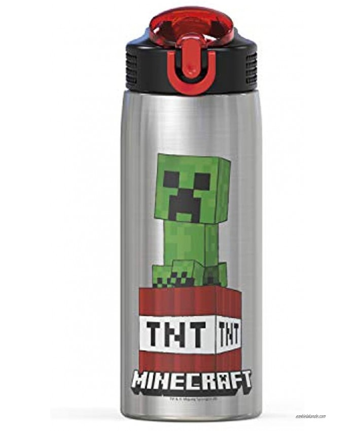 Zak Designs MICI-V151 Zak Designs 27oz Minecraft 18 8 Stainless Steel Water Bottle with Flip-up Straw Spout and Locking Spout Cover Durable Cup for Sports or Travel 27oz Minecraft Creeper