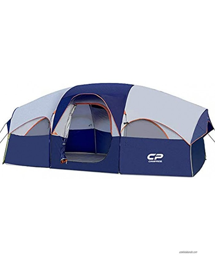 CAMPROS Tent-8-Person-Camping-Tents Waterproof Windproof Family Tent 5 Large Mesh Windows Double Layer Divided Curtain for Separated Room Portable with Carry Bag for All Seasons