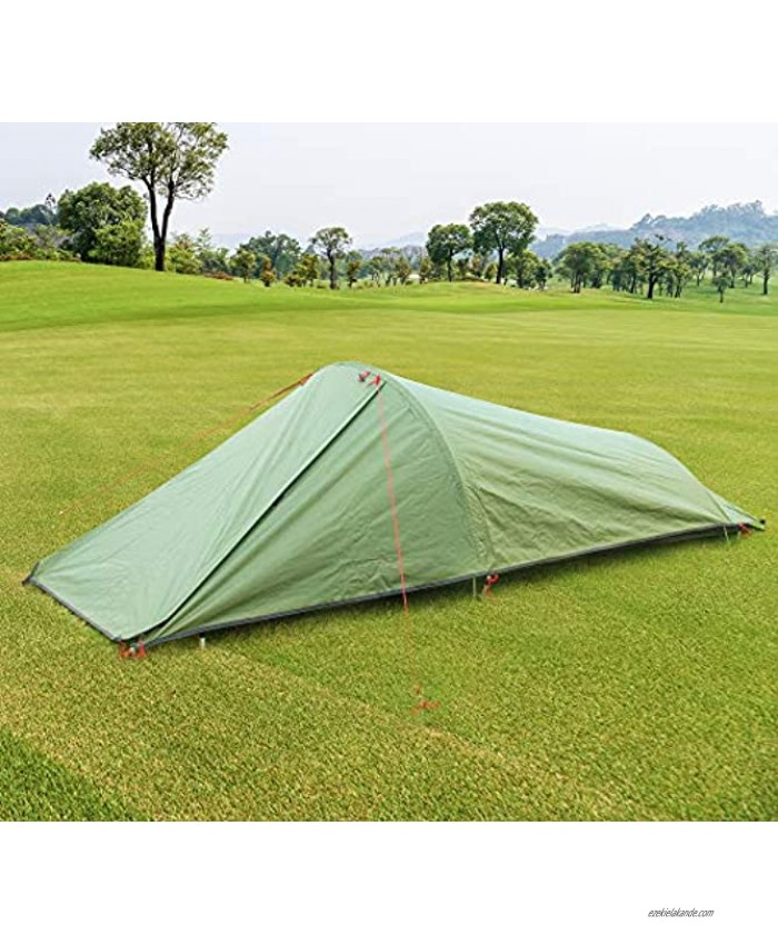 Fltom Single Person Camping Tent One Person Lightweight Bivy Tent with Net Mesh for Hiking Mountaineering Backpacking Travel