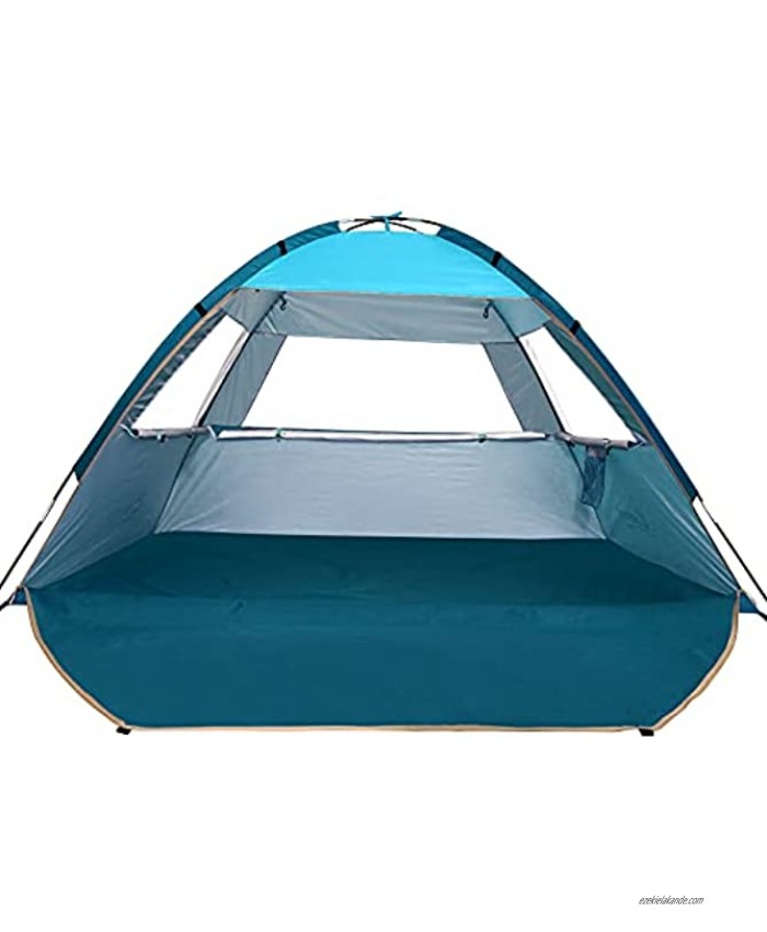 COMMOUDS Beach Tent Beach Sun Umbrella Outdoor Sun Shelter Canopy Cabana UPF 50+ Sun Shade Easy Set Up 3-4 Person Lightweight and Easy to Carry Blue