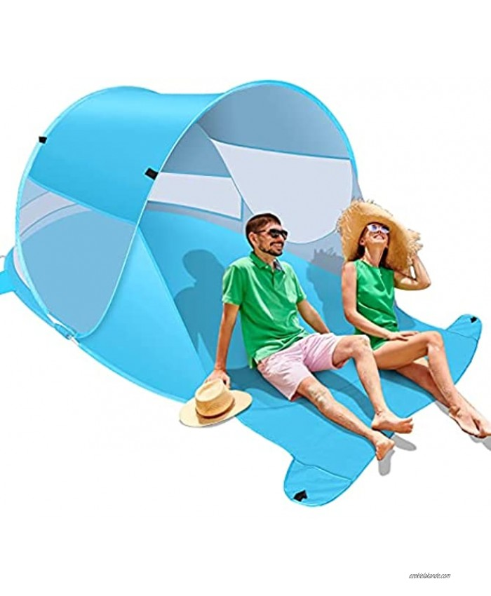 Felicigeely Beach Tent Large Automatic Instant Pop Up Beach Shade UPF 50+ Portable Sun Shelter Anti UV Beach Umbrella Baby Tent with Carrying Bag Fit for 2 Person