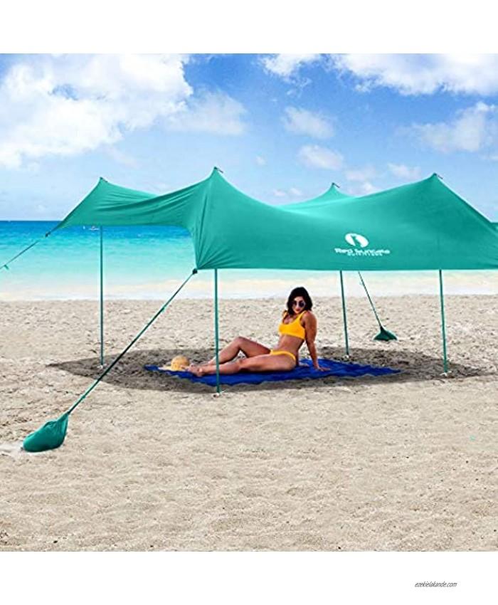 Red Suricata Family Beach Sunshade Sun Shade Canopy | UPF50 UV Protection | Tent with 4 Aluminum Poles 4 Pole Anchors 4 Sandbag Anchors | Large & Portable Shelter Tarp