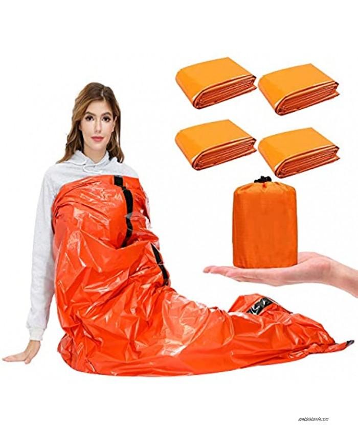 SAINUOD Emergency Sleeping Bag Waterproof Emergency Mylar Blanket Bivy Sack with Lightweight Portable Nylon Sack for for Camping Hiking Outdoor Adventure Activities