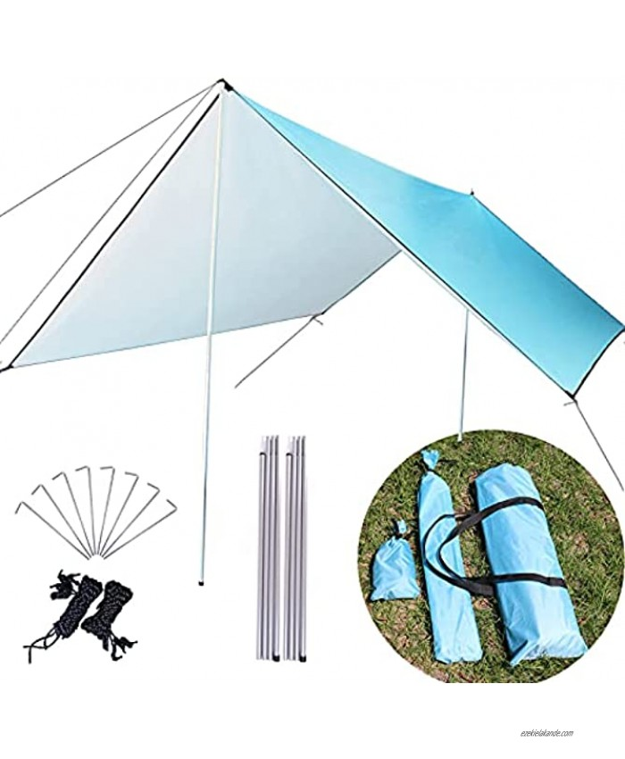 MEDOO Camping Tarps Waterproof with Poles 10x10FT 210D Thick Fabric Hammock Rain Fly Waterproof Tent Tarp Perfect Hammock Accessories for Campers UV Protection Blue