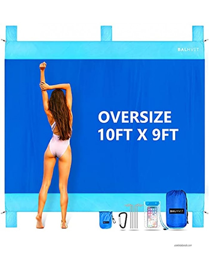 Balhvit Sandproof Beach Blanket 10'x9' Oversize Sand Free Beach Mat for 7 Adults Waterproof Fast Drying Durable Outdoor Picnic Mat with 5 Pockets & 4 Stakes for Travel Hiking Music Festivals