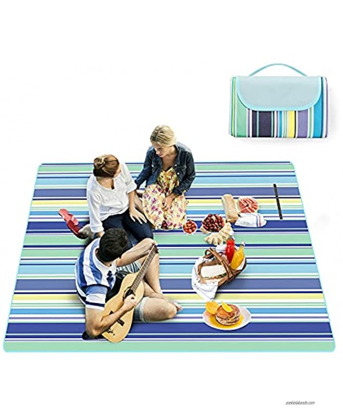 EXTREE Picnic Mat 78''x 80'' Picnic Blanket Beach Blanket Extra Large Sand Proof and Waterproof Portable Beach Mat for Camping Hiking Festivals Blue