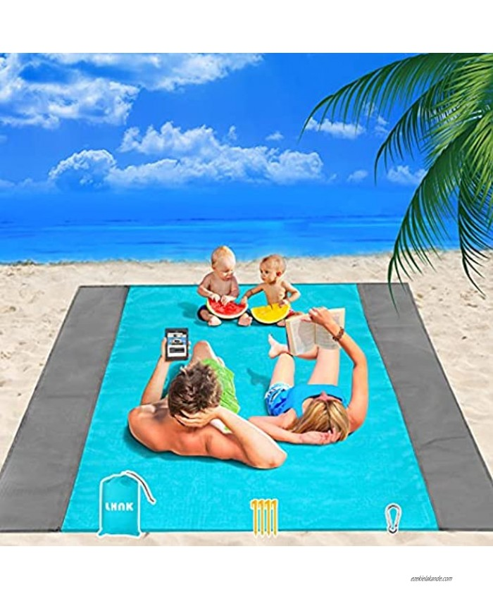 LHNK Sandproof Beach Blanket – Oversized & Lightweight Beach Mats for 4-7 Adults Waterproof Pocket Picnic Blanket with Pouch and 4 Anchors – Quick Drying Outdoor Blanket for Travel Hiking Camping