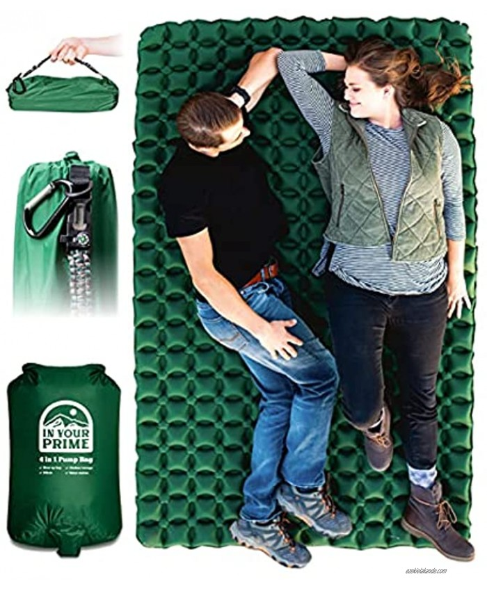 In Your Prime Double Sleeping pad for Camping w  4 in 1 Pump Bag & Paracord Bracelet 2 Person Ultralight Inflatable air mat Compact Backpacking Mattress Bed for Adults Kids Tents Truck & Hiking