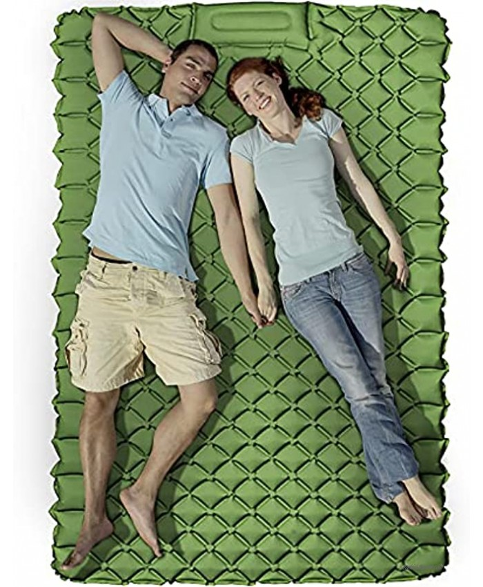 KEEGOP Sleeping Pad for Camping 2 Person Lightweight Camping Mattress Sleeping Mat for Backpacking Tent Campers Double Camping Pads Beds for Adults Green