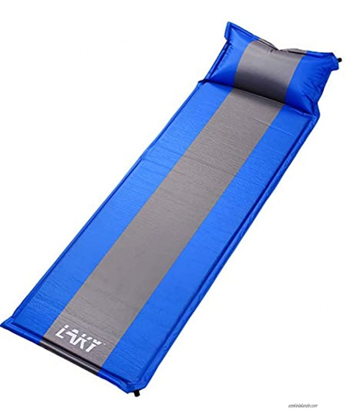 LAKY Self-Inflating Sleeping Pad with Pillow Comfortable Foam Camping Mattress Pad No Air Pump Required Sleeping Pad for Camping Backpacking Hiking Travel Family