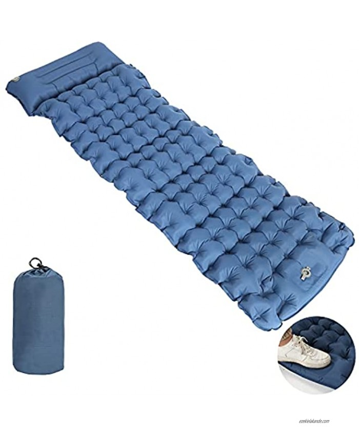 Winunite Blue Camping Sleeping Pad Mat with Pillow 4 Inch Thickness Foot Press Air Mattress Compact Ultralight Inflatable Hiking Pad Durable Waterproof for Backpacking Hiking Tent Travel Road Trip