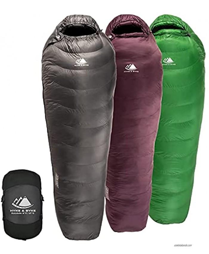 Hyke & Byke Katahdin 32F 15 0F 625 Fill Power Hydrophobic Sleeping Bag with Advanced Synthetic Ultra Lightweight 4 Season Men and Women Mummy Bag Designed for Backpacking