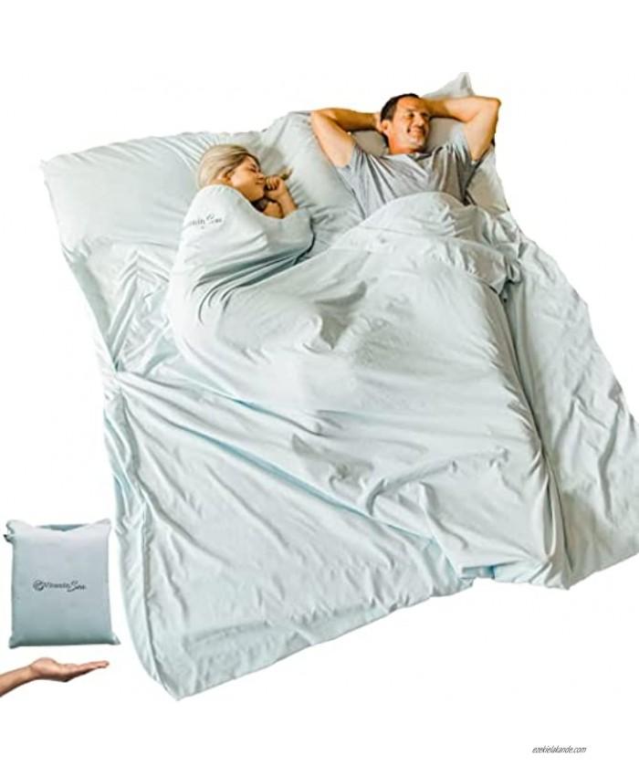 VITAMIN SEA Cotton Sleeping Bag Liner Ultralight   Camping Sheets Lightweight   Travel Sheet   Sleep Sack Adult   Travel Sheet Liners for Hotel