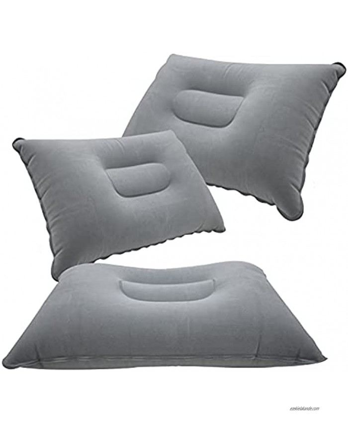 3 Pcs Grey Ultralight Inflatable Pillow Small Squared Flocked Fabric Air Pillow for Hiking,Camping,Traveling,Napping,Desk Rest,Neck &Lumbar Support
