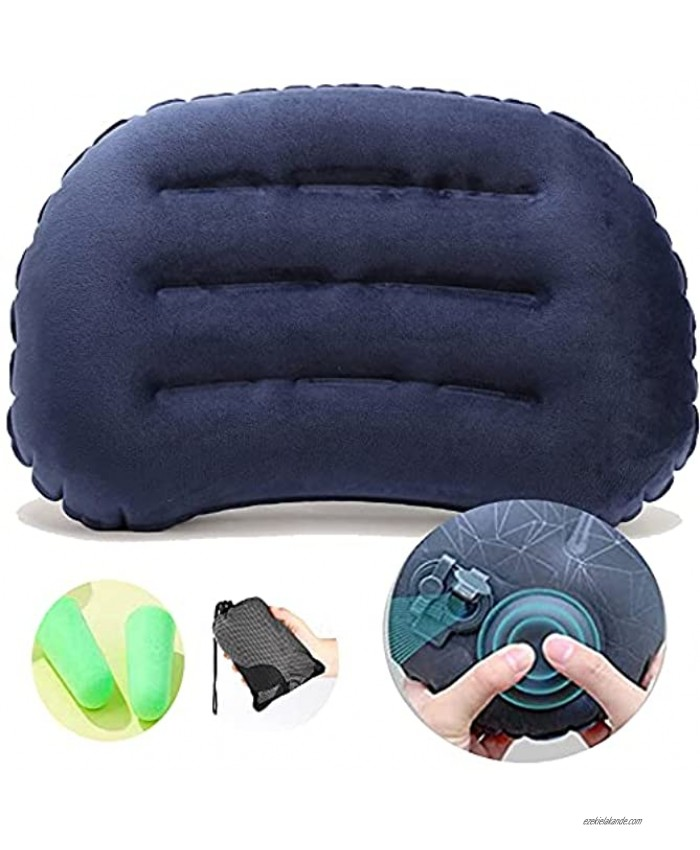 Ultralight Inflatable Camping Travel Pillow -Fast Inflatable by Pressing Compressible Pillows for Backpacking  Camp,Traveling Or Hiking.Compressible Compact Washable Flocking Pillows