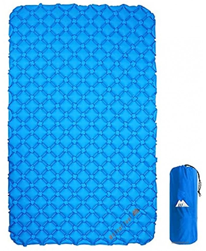 MasterTool Ultralight Double Sleeping Pad for Camping Portable Waterproof Camping Pad Inflatable Comfort Camping Mattress 2 Person Ripstop Sleeping mat for Backpacking Blue