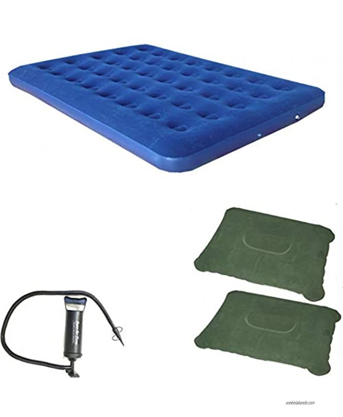 Zaltana Double Size Air Mattress with Double Action Hand Pump & 2-Piece of Inflatable Pillow Combo AMD+AP3+PL1x2