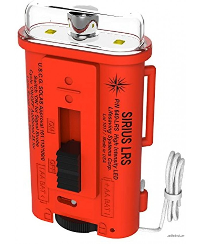 Lifesaving Systems Corp Sirius Long Range LED Strobe Light USCG Approved Signaling Strobe Does NOT Replace Flares Exceeds Solas Requirements Made in USA