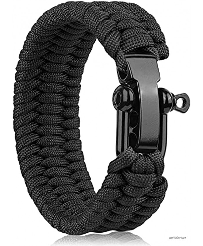 Oadnfa Survival Bracelet,Tactical Paracord Bracelet with Forged Stainless Steel Black U-Type Shackle Connection Three-Holes Adjustable,Bearable 550 lb Disassembled Parachute Rope for Emergency,Pair with Adventurers