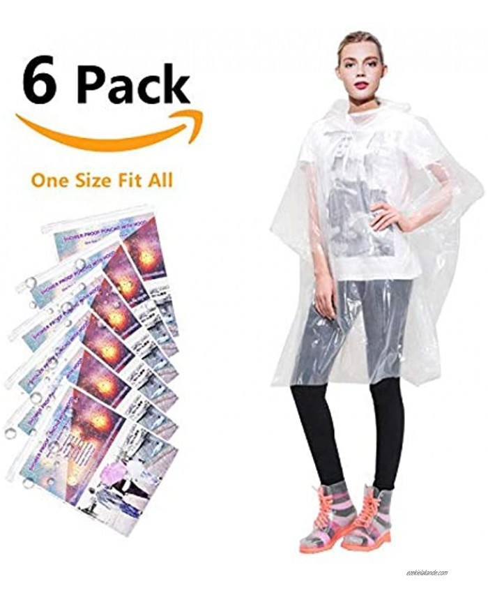 Rain Ponchos for Adults Disposable Waterproof Lightweight 6 Pack Rain Ponchos with Drawstring Hood 50% Thicker Material Emergency Rain Poncho Clear Color
