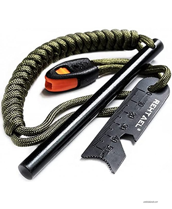 REHTAEL Flint and Steel Fire Starter Survival Kit [3 8 x 5 Inch] Bushcraft Drilled Ferro Rod with Multi-Tool Steel Striker Paracord Lanyard for Camping Hiking