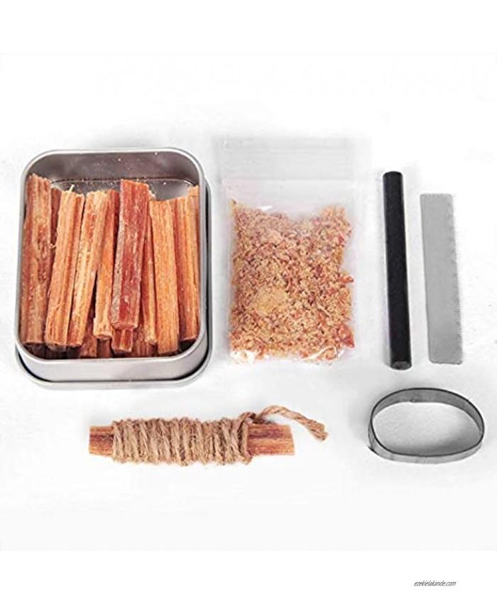 Steve Kaeser Fatwood 100% Natural Firestarter Sticks Hand Cut in The USA Ferro Rod Ferrocerium Flint Jute Fatwood Chips Striker Tin Container Survival Emergencies Camping Since 1989