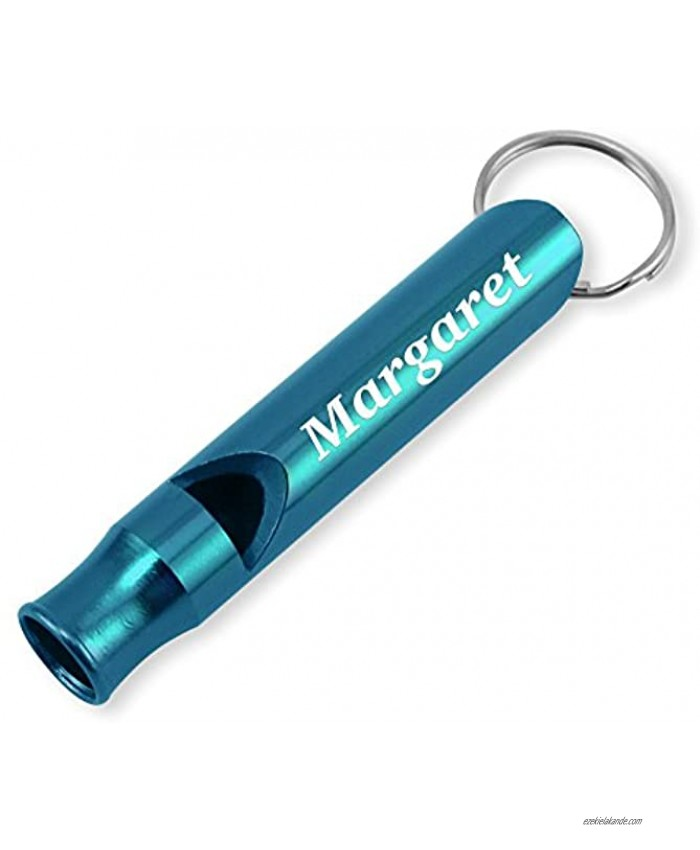 Dimension 9 Laser Engraved Anodized Margaret Metal Safety Survival Whistle with Key Chain