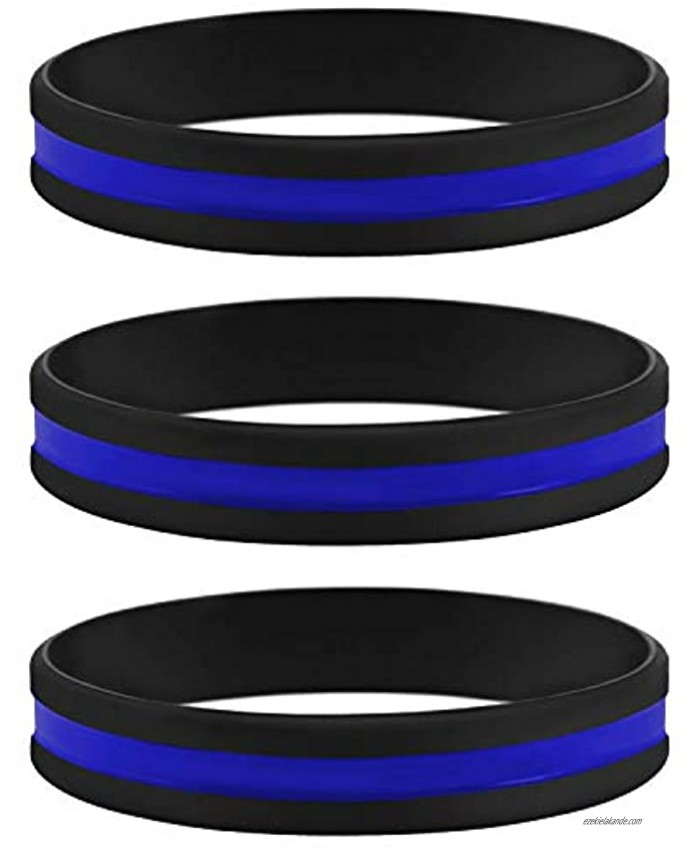 Sainstone Thin Blue Line Bracelet 3 Pack of Silicone Rubber USA Wristband Band Set Support Law Enforcement for Policeman's Prayer Gifts Accessories for Police Officers Cops 3 Pack