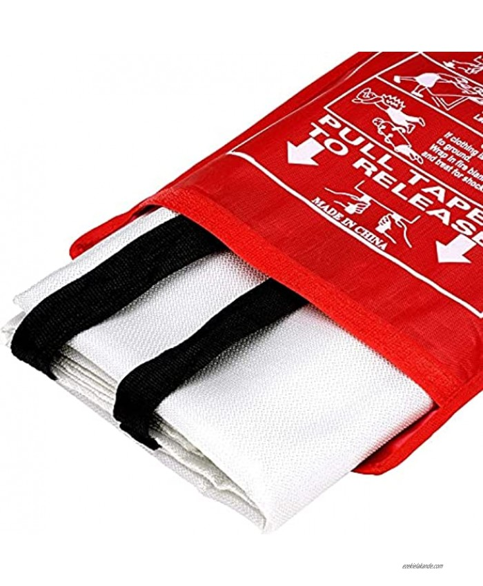 Fire Blanket Fiberglass Fire Emergency Blanket Suppression Blanket Flame Retardant Blanket Emergency Survival Safety Cover for Kitchen Home House Car Office Warehouse 1 Pack 39.3X 39.3 inch