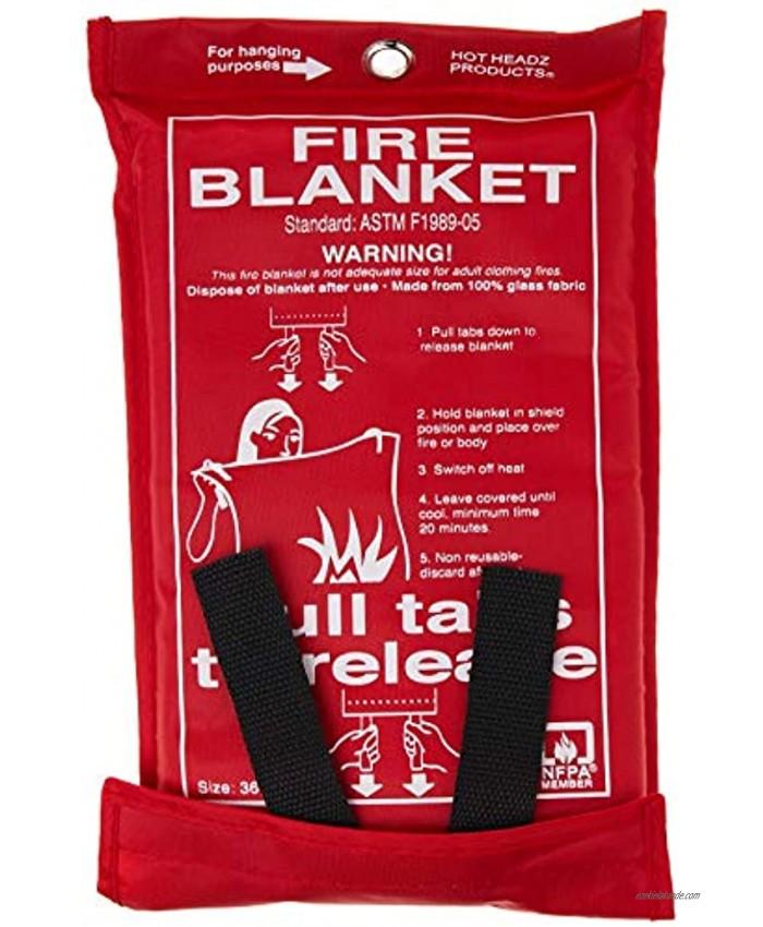 Hot Headz H-FIR-BLN100 Fire Blanket 36 x 36-Inch Red